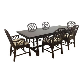 Ralph Lauren Genbeigh Trestle Table With 6 Arm Chairs