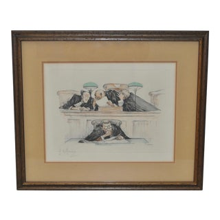 Gaston Hoffman Color Etching Pencil Signed c.1930s