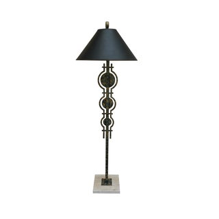 Mid-Century Style Green, Black & Gold Floor Lamp