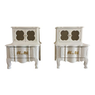 White Chicken Wire Nightstands - A Pair