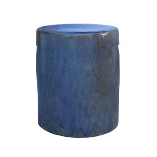 Chinese Ceramic Clay Purple Blue Glaze Round Flat Column Garden Stool