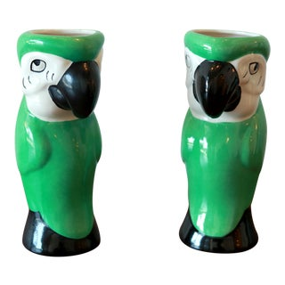 Tropical Green Parrot Ceramic Vases - A Pair