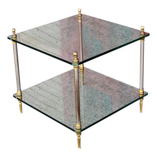 Maison Jansen Style Hollywood Regency Glass Table