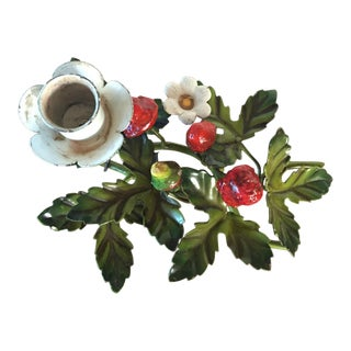 Italian Tole Strawberries Candle Holder