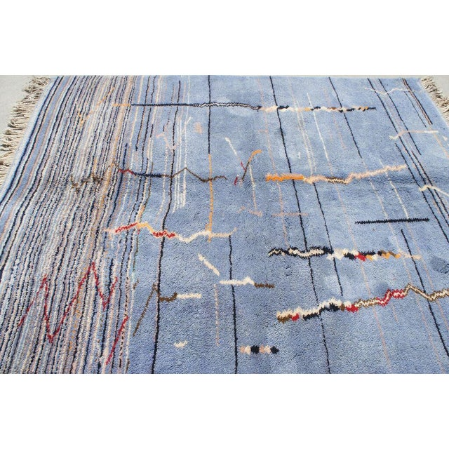 """Moroccan Light Blue Abstract Rug- 6'5"""" x 9' - Image 5 of 7"""