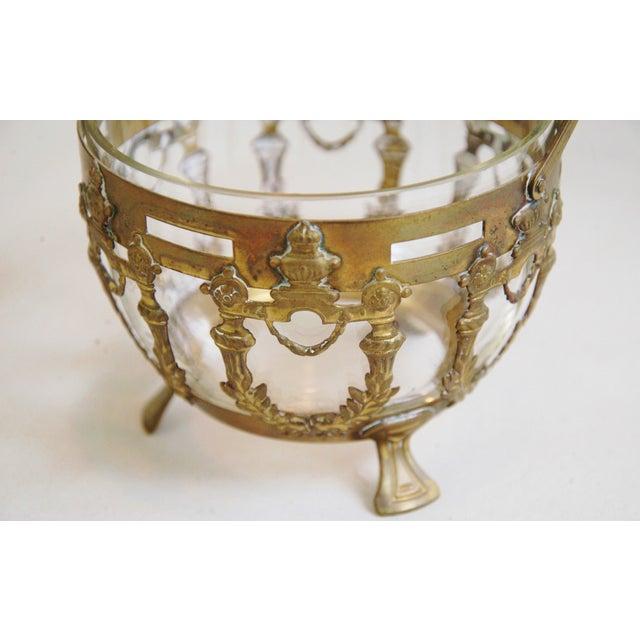 Antique Brass Filigree & Crystal Basket - Image 5 of 10