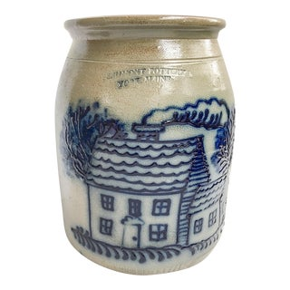 Maine Pottery Salt Glazed Cottage Motif Crock