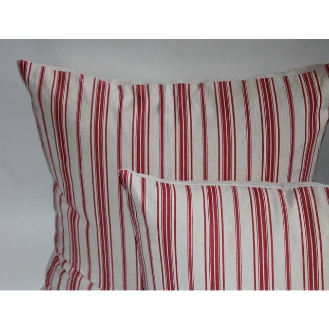 19th Century Red Ticking Pillows, Pair - Image 3 of 8