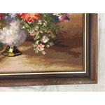 Image of Large Wooden Framed Floral Needlepoint