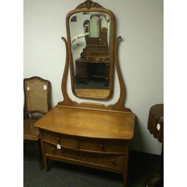 Solid Oak Antique Dresser/Vanity - Image 3 of 7