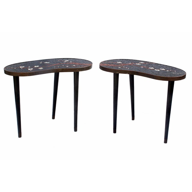 Atomic-Style Mosaic Side Tables - A Pair - Image 1 of 4