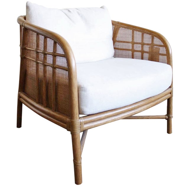 Image of McGuire Plaid Lounge Chair Pecan Finish