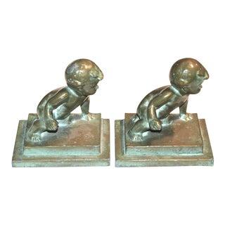 Crawl Before Walking 1927 Brooklyn Bronze Bookends Pair
