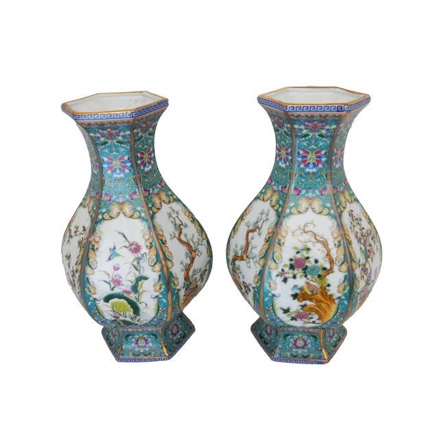 Famille Blue Floral Porcelain Vases - A Pair - Image 4 of 7