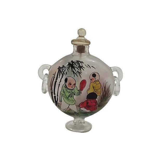 Image of Chinese Hand Painted Blown Glass Snuff Bottle