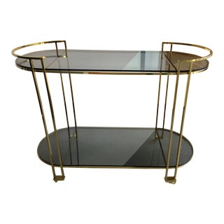 Smoked Glass & Brass Bar Cart