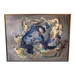 Blue Smoke Acrylic Painting