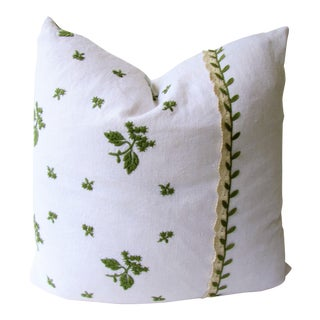 Vintage Green Leaf Pillow Cover