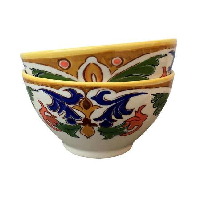 Hand Made Painted Bowls - Pair - Image 1 of 8