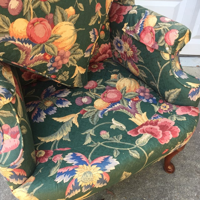 Green & Blue Floral Upholstered Wingback Flare Chairs- A Pair - Image 7 of 7
