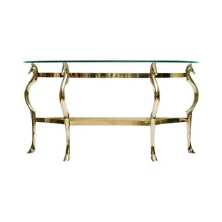 Italian Brass Seahorse Console Table