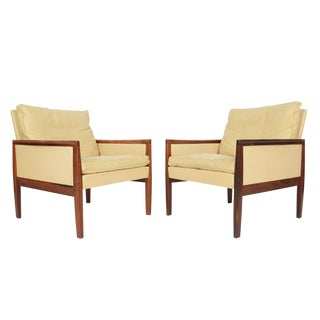 Danish Modern Rosewood & Leather Lounge Chairs - a Pair