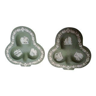 Wedgwood Ashtrays in Jade - A Pair