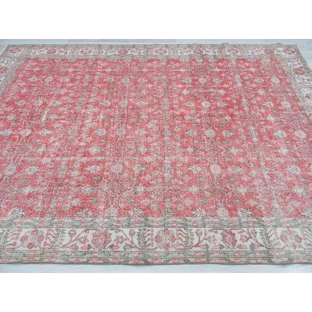 Vintage Floral Turkish Rug - - Image 4 of 6