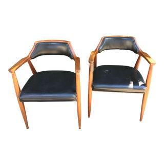 Vintage Mid-Century Modern Walnut Jasper Captians Chairs - A Pair