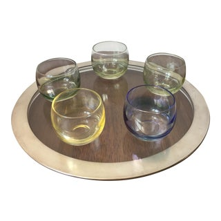 Silver Trim Tray & Multicolor Glasses - S/6