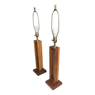American Walnut & Brass Mid-Century Modern Table Lamps - A Pair