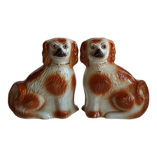 Antique Staffordshire Mantel Dogs - a Pair