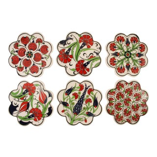 Scalloped Edge Iznik Tulips and Mums Coasters - Set of 6