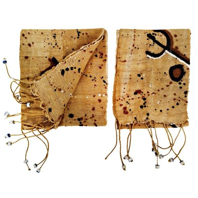 Vintage Brown Mud Cloth Scarf Runners - A Pair - Image 1 of 4