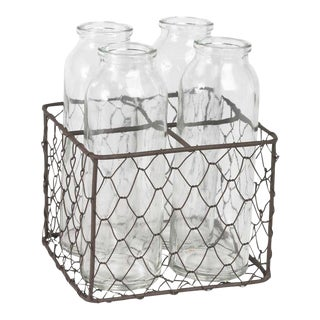 Clear Glass Bottles & Metal Mesh Holder - Set of 5