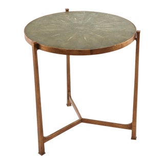 Jonathan Charles Green Faux Shagreen Side Table