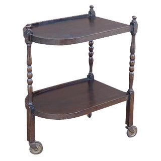Wood Two-Tier Spindle Trolley