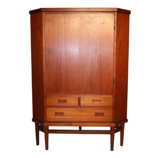 Danish Modern Teakwood Corner Cabinet with Key