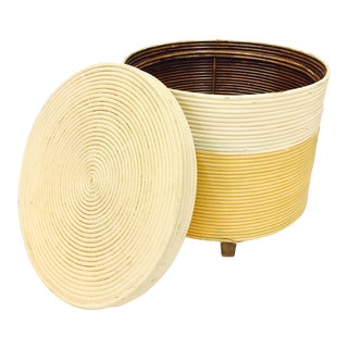 Vintage Wrapped Rattan Side Table with Storage