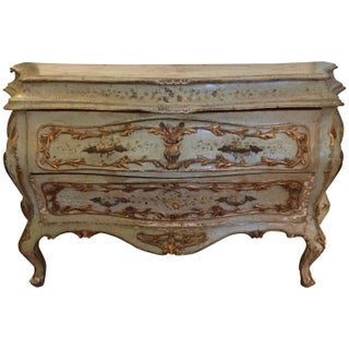 French Rococo Painted & Parcel Gilt Commode