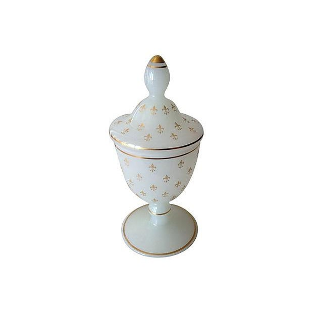 French Opaline Glass Lidded Container - Image 2 of 6
