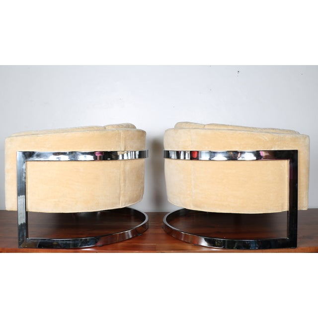 Milo Baughman Style Club Chairs - A Pair - Image 5 of 10