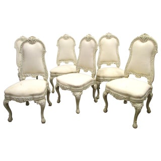White Painted Baroque Dining Chairs - Set of 6