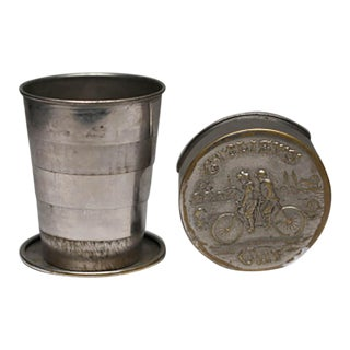 Early 20th c. Metal Collapsible Cyclist Cup c. 1900-1910