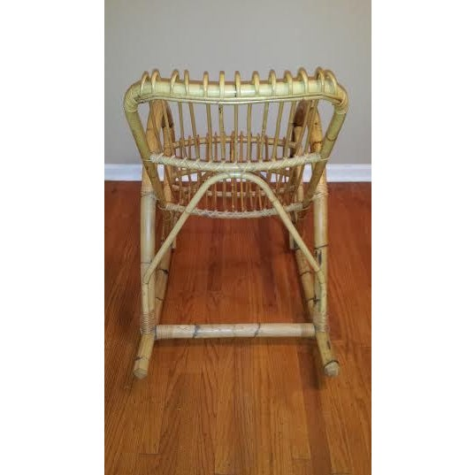 Franco Albini Style Rattan Rocking Chair - Image 5 of 5