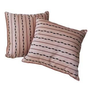 Custom Handsewn Blush Silk Pillows - A Pair