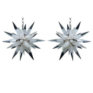 2 French Rock Crystal Star-form Chandeliers