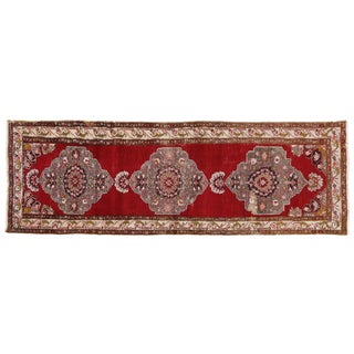 "Vintage Turkish Oushak Carpet Runner - 3'7"" x 10'9"""