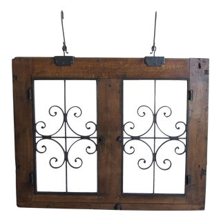 Circa 1860 Antique Wrought Iron & Wood Hanging Window