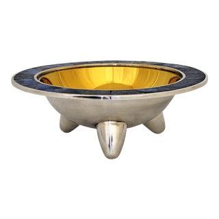 1950's Los Castillo Brass & Silver Plate Bowl Mid Century Modern Antique Vintage Mexico Lapis Lazuli